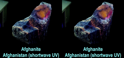 Afghanite - Afghanistan - afghanite under combined shortwave, longwave and midwave ultraviolet, Sony DSC-S50 with +4 macro lens on Bogen slide bar,