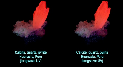 Calcite, quartz, pyrite - Huanzala, Peru - calcite fluorescent red (longwave UV)