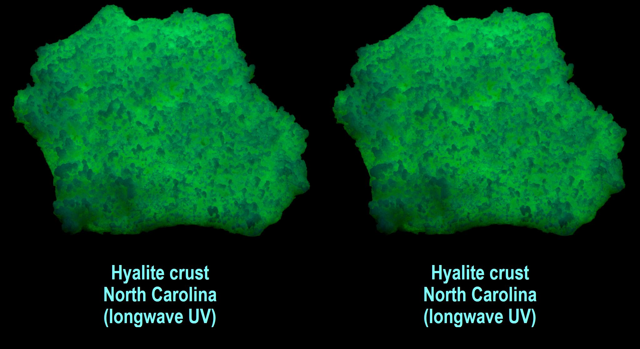 Hyalite opal crust, North Carolina - scanner, with longwave ultraviolet back lighting
