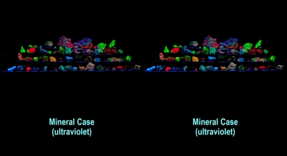 Mineral case under ultraviolet light