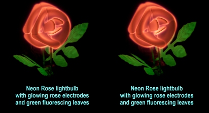 Neon Rose lightbulb with glowing rose electrodes and green fluorescing leaves
