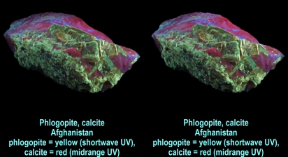 Phlogopite, calcite - Afghanistan - phlogopite yellow (shortwave UV), calcite red (midrange UV)
